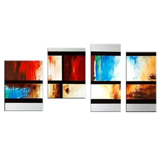 Abstract Squares Hand-painted 4-panel Oil Painting