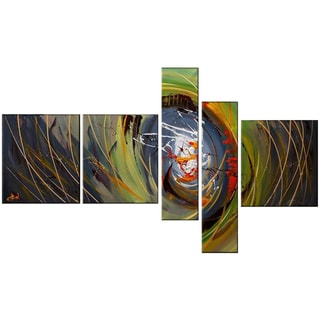 Abstract Green Hand-painted 5-piece Oil Painting