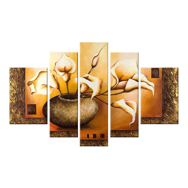 Modern Floral Hand-painted 5-piece Oil Painting 12275783