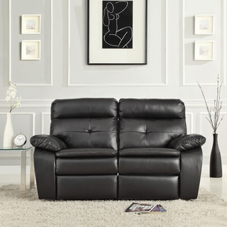 TRIBECCA HOME Rex Modern Black Bonded Leather Tufted Power Dual Reclining Loveseat