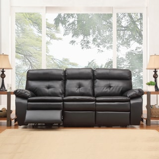 TRIBECCA HOME Rex Modern Black Bonded Leather Tufted Power Dual Reclining Sofa