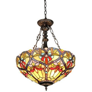 Tiffany Style Victorian 2-light Inverted Pendant