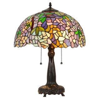 Tiffany Style Wisteria Design 2-light Table Lamp