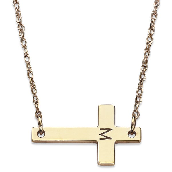 10k Yellow Gold Engraved Initial Cross Necklace