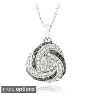 Glitzy Rocks Sterling Silver White Topaz and 1/4ct TDW Diamond Love Knot Necklace (I2-I3)