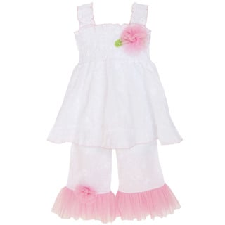 AnnLoren Girl's Smocked White Eyelet Tunic & Capri Set