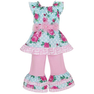 AnnLoren Girl's Pink & Blue Rose Dot Top & Capri Set