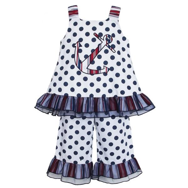 AnnLoren Girl's Nautical Anchor Shirt & Capri Set