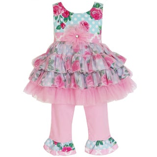 AnnLoren Girl's Rose Dot & Tulle Tunic & Capri Set