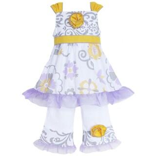 AnnLoren Girl's Damask and Lilac Floral Shirt & Capri Set