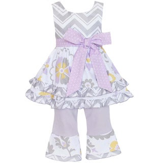 AnnLoren Girl's Grey Chevron & Floral Shirt & Capri Set