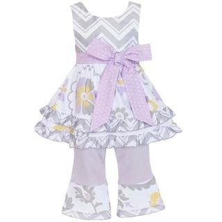 AnnLoren Girl's Grey Chevron & Floral Shirt & Capri Set