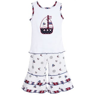 AnnLoren Girl's Nautical Sailboat Shirt & Capri Set