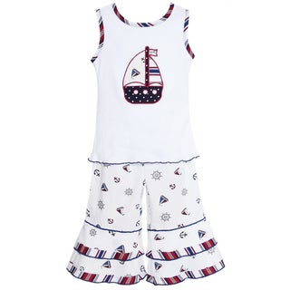 AnnLoren Girl's Nautical Sailboat Shirt & Capri Set