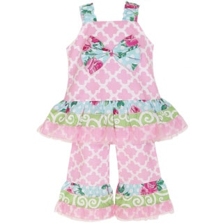 AnnLoren Girl's Lattice & Floral Printed Set