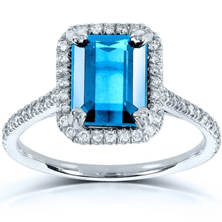 Annello 14k White Gold Blue Topaz and 1/4ct TDW Diamond Halo Ring (G-H, I1-I2)