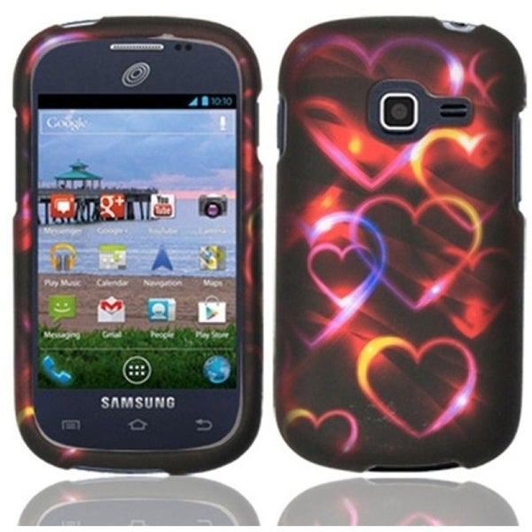 INSTEN Red Hearts Rubberized Hard Plastic Snap-on Phone Case Cover for Samsung Galaxy Centura/ Discover
