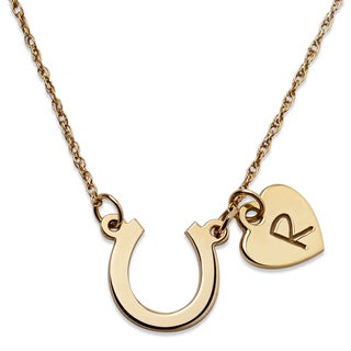 Gold over Sterling Horseshoe and Initial Heart Necklace