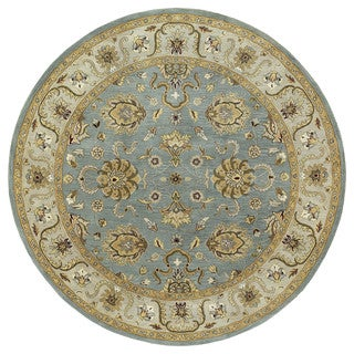 Hand-tufted Royal Taj Aqua Wool Area Rug (9'9 Round)