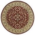 Hand-tufted Royal Taj Red Wool Rug (5'9 Round)