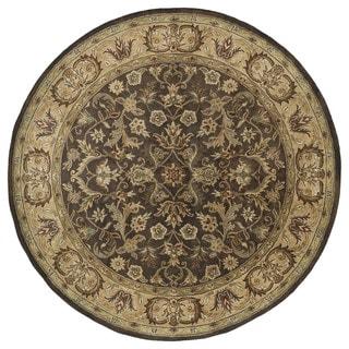 Hand-tufted Royal Taj Chocolate Brown Wool Rug (5'9 Round)