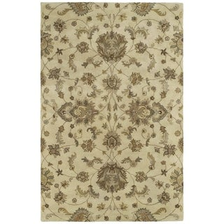 Hand-tufted Royal Taj Sand Wool Rug (7'9 Round)