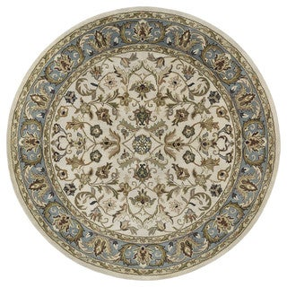 Hand-tufted Royal Taj Beige Wool Rug (5'9 Round)
