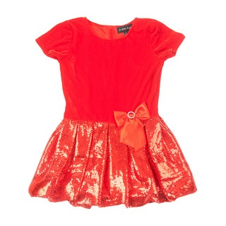 Girl's Red Bubble Skirt Dress