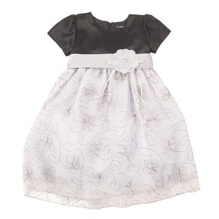 Girl's Velvet-top Flower Dress Set
