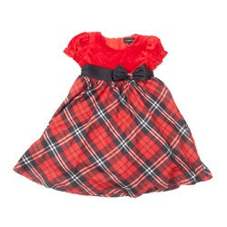 Peanut Buttons Girl's Velvet Top Satin Bow Dress Set