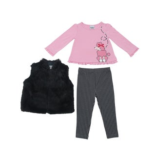 Peanut Buttons Girl's Poodle Print Clothing Set