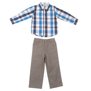 Peanut Buttons Boy's Yarn Dye Plaid Shirt and Pant Set