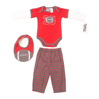 Peanut Buttons Boy's Football Applique Bib Set