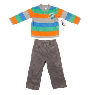 Peanut Buttons Boy's Rugby Stripe Shirt and Pant Set