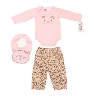 Peanut Buttons Girl's Leopard Printed Bib Set