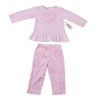 Peanut Buttons Girl's Lilac Microfleece Lace Applique Clothing Set