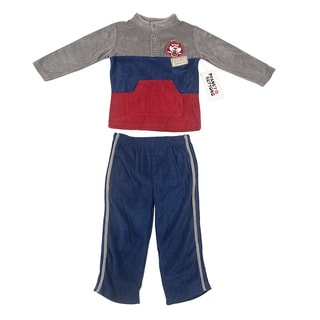 Peanut Buttons Boy's Grey and Navy Mock Neck Clothing Set