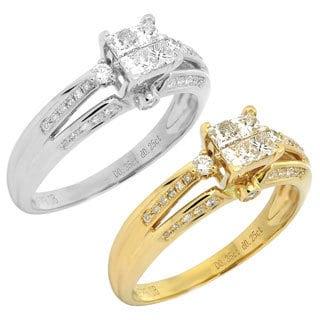 De Buman 14k Gold 1/2ct TDW Princess Cut Diamond Ring (H-I, SI3)
