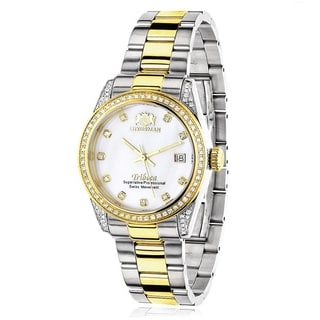 Luxurman Women's 'Tribeca' Two-Tone Gold-Plated Diamond 1 1/2 ct TDW Watch