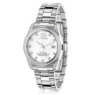 Luxurman Women's 'Tribeca' 1 1/2ct TDW Diamond Stainless Steel Watch Metal Band plus Extra Leather Straps