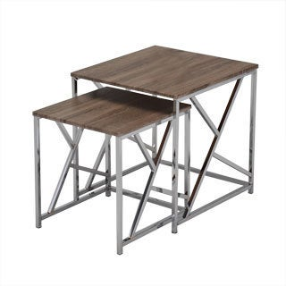 Reclaimed Wood Chrome Side End Nesting Tables (Set of 2)