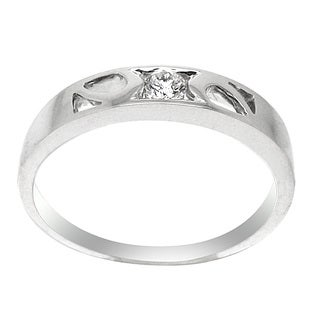 De Buman 18k White Gold 1/8ct TDW Round Cut Diamond Solitaire Band Ring (G-H, SI3)