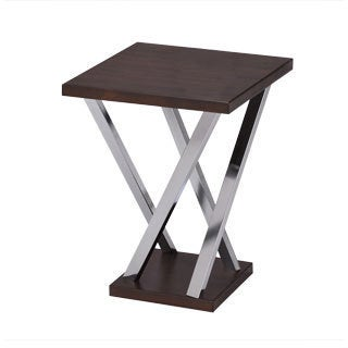 Walnut and Chrome Finish Side End Snack Table