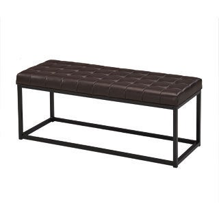 Brown Tufted Bonded Leather Metal Frame Bench