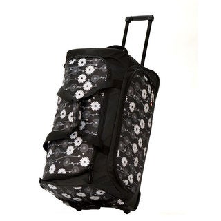 Olympia 26-inch Fashion Printed Daisy Rolling Upright Duffel Bag