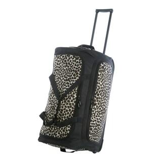 Olympia 26-inch Fashion Printed Leopard Rolling Upright Duffel Bag