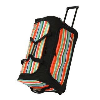 Olympia 26-inch Printed Striped Rolling Upright Duffel Bag