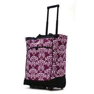 Olympia Fashion Damask Purple Rolling Shopper Tote