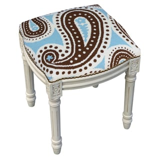 Paisley Needlepoint Blue/ Brown Stool