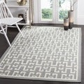 Safavieh Hand-woven Moroccan Dhurries Soft Grey/ Ivory Wool/ Banana Silk Rug (3' x 5')